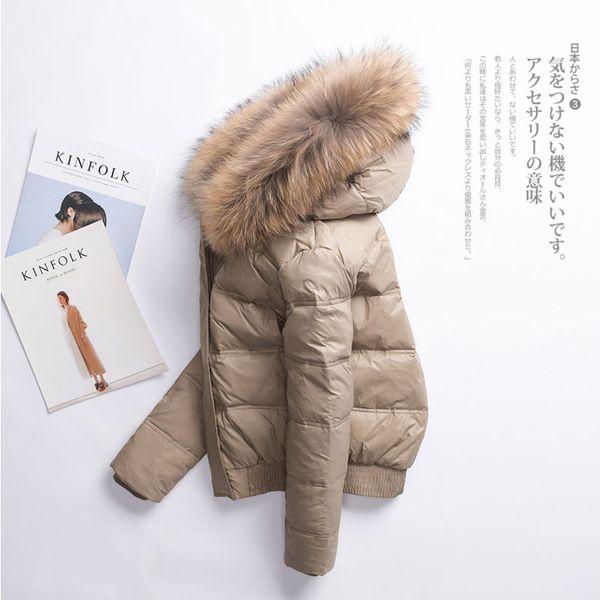 2018 Women Parka Winter Down Jacket Woman Hooded Short Korean Duck Down Coat Women Real Fur Collar Jackets Abrigo Mujer 806