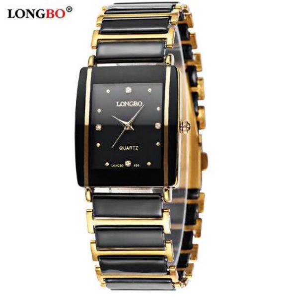 2019 New Diamonds Elegant Men Ladies Wristwatches Analog Quartz Ceramic Steel Square LONGBO WATCH Couple Lover Luxury Gift Watch