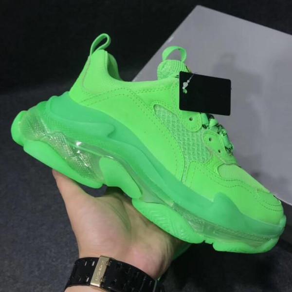 Novas sapatilhas de grife moda triplos s formadores para o homem mulheres claro sola completa verde Oversized Air Bubble sapatos casuais com caixa original