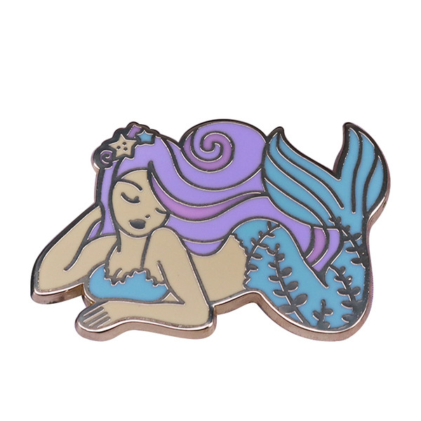 Wonderful mermaid pins fantasy pastel art brooch charm women jewelry