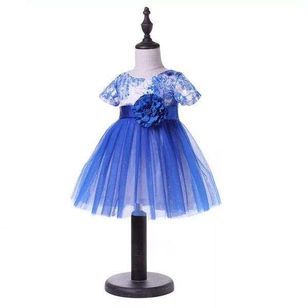 Kids Wedding Dress 2019 Evening Party Dresses Blue Fashion Cute Princess Veil Clothes Elegant Baby Flower Decoration Clothing