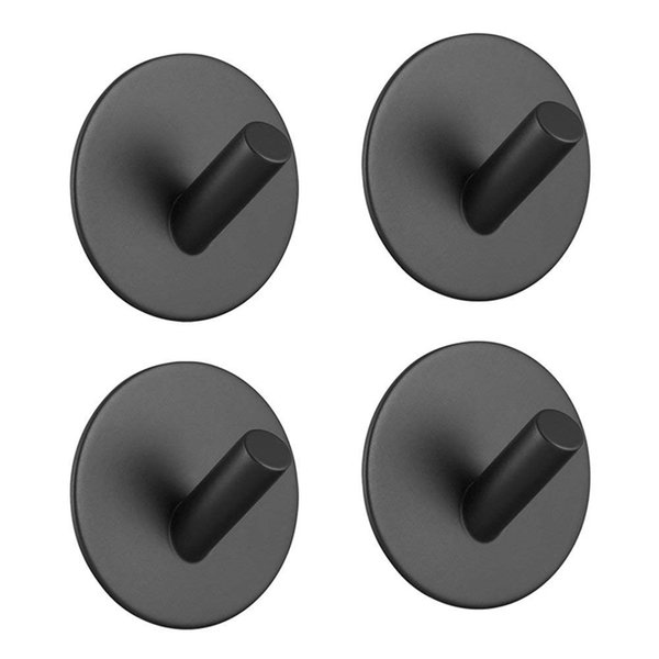 Gancho adhesivo, gancho negro autoadhesivo montado en la pared para toalla de bata, gancho de acero inoxidable, sin taladro, sin tornillo, impermeable, s