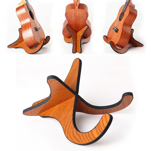 2 Pcs / Set Titular dobrável de madeira portátil para guitarra Vertical Instrumento Stands cremalheira Violin Bandolim Banjo Acessórios