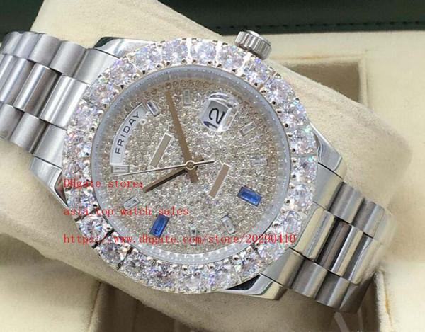 Elmas Yüksek kalite 2813 otomatik Mekanik Erkek Saatler çerçeve Safir cam Büyük elmas dial 4 tarzı son sürümü Gün-Tarih 43mm