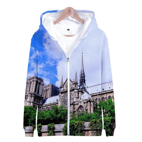 FASHION- Notre Dame de Paris Hommes Femmes Hoodies 3D imprimé Tops Sweat-shirts O-Neck loose Zipper femmes Vêtements causales