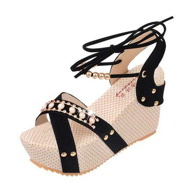 Femmes Sandale Compensées Chaussures Plateformes Peep Toe 2019 Mode Été Dames Habillées Chaussures Femmes Talons Sandales Femme Haute Sandale Compensée