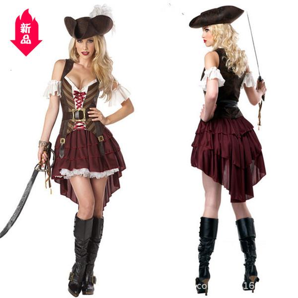 Caribbean Pirate Abbigliamento Donna Cavaliere Abbigliamento per adulti pirata Vestiti Cosplay Gioco Blu Vestiti di Halloween