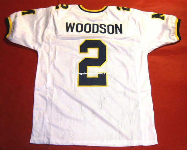 Cheap retro #2 CHARLES WOODSON CUSTOM MICHIGAN WOLVERINES White JERSEY BLOCK Mens Stitching Retro Size S-5XL Football jerseys
