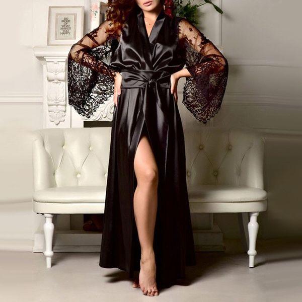 2019 Moda Kadınlar Uzun Seksi Uzun Ipek Kimono Nightgowns Sabahlık Babydoll Dantel Lingerie Banyo Robe Kadın Ev Tekstili Sonbahar