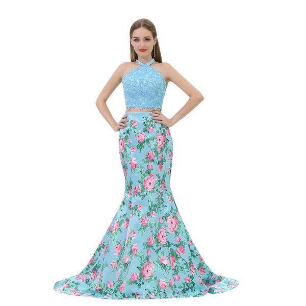 2019 Printed Flower Two Piece Mermaid Prom Dresses floor length Formal Party Dress Lace top Printed flower skirt B010