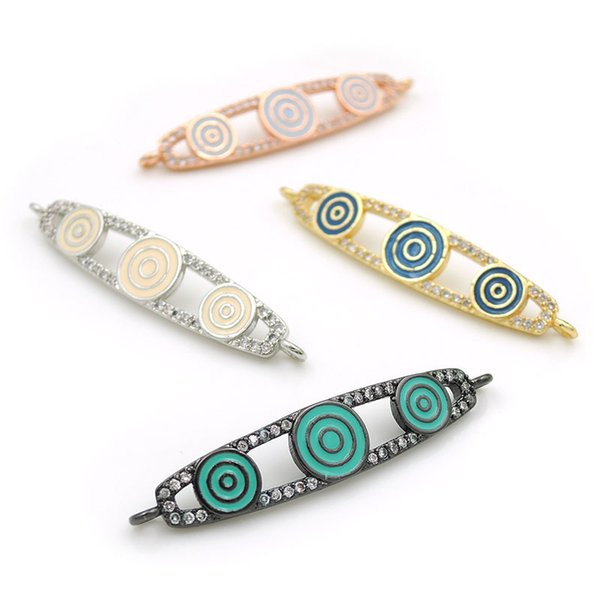 37*7*3mm Micro Pave Clear CZ Oval Arc Bar Connectors With Enamelling 3 Eye Fit For Men And Women Making Bracelets Jewelry