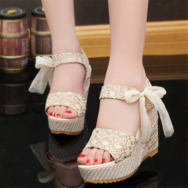 2019 Summer Women Sandals Female Thick with Sweet Ribbon Bow Female Sandals High Heels Casual Waterproof Platform Wedge Women's Shoes 01-01