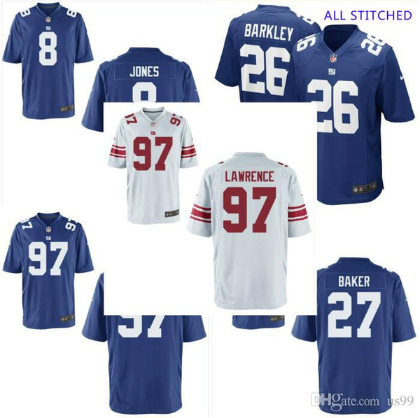 Mens 97 Dexter Lawrence Jersey Deandre Baker #8 Daniel Jones Vapor Untouchable Draft White Royal cheap american football jerseys shirts 4xl