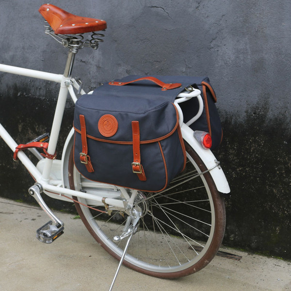 TOURBON Waterproof Canvas Bicycle Bike Rear Seat Carrier Bag Cycling Double Roll-up Pannier Bag Pack (Blue Can't Roll Up)