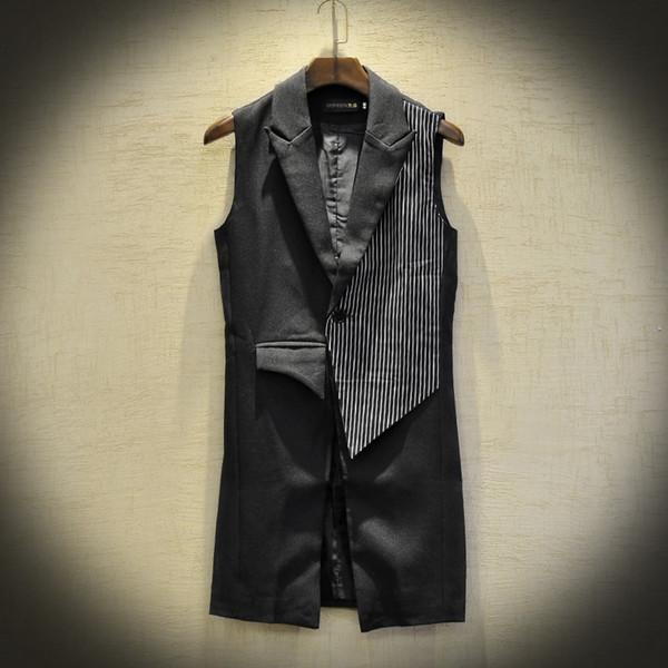 MIXCUBIC 2019 spring summer British style Costumes Unique Asymmetry Vest men casual slim striped Waistcoat for men M-XXL