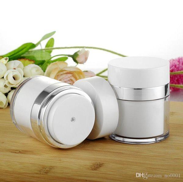 Wholesale 15g 30g 50g pearl white Acrylic vacuum cream jar, plastic empty airless Cosmetic Jar