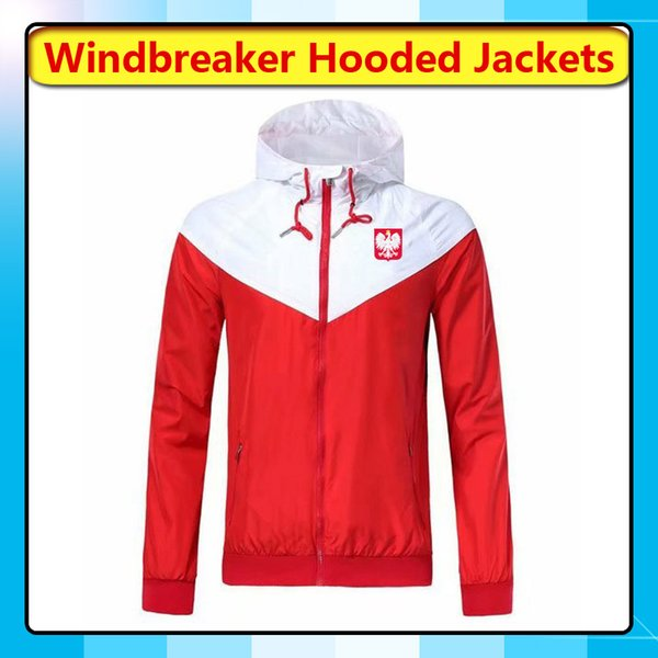 2019 Poland National Team Windbreaker Hoodies Soccer Jackets, Poland Full Zipper Windbreaker Coat Football Sport Hooded Windbreaker Fans Tops From