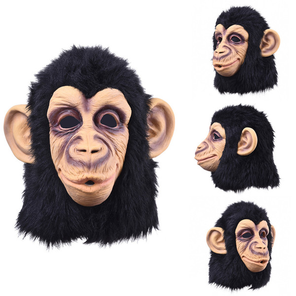 Máscara divertida de látex con cabeza de mono y cara completa Máscara para adultos Transpirable Fiesta de disfraces de disfraces de Halloween Cosplay Parece real