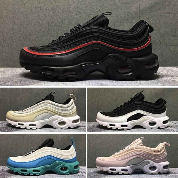 2019 2019T 97 Tn Plus Running Shoes For Men Women 97s Tn Triple Black White Yellow Silver Designer Jogging Sneakers Sports Shoes Size 36 46 From