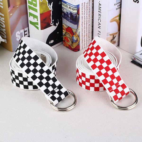 Ceintures Hot Toile Canvas taille Ceintures CheckerBoard Casual Checkered 2019 Ceinture ceinture à carreaux noir et blanc pour les femmes Fanny