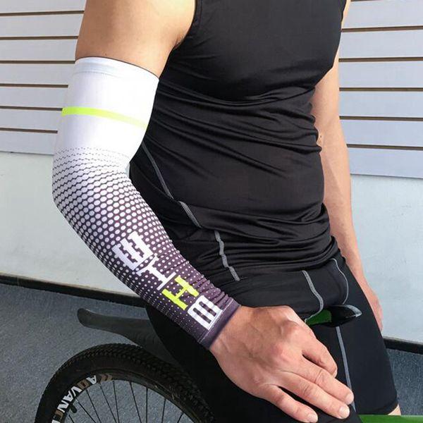 Cool Men Ciclismo Deporte Correr Manga de bicicleta UV Protección solar Cuff Cover Brazo Manguito Bicicleta Deporte Brazo Mangas LJJZ567