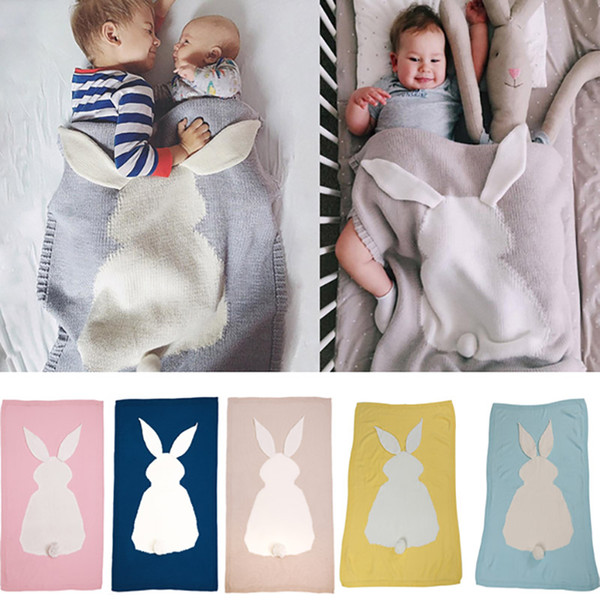Baby Knitted Blankets Crochet Bed Sofa Blanket Air Conditioning Bunny Blanket For kids Children Newborn Adult Gifts 105*75cm XD20416