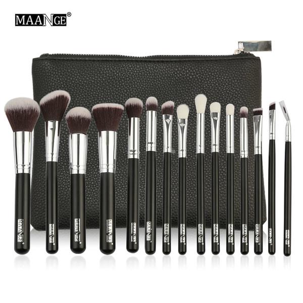 MAANGE 6-15Pcs Pennelli per trucco Set Powder Foundation Ombretto Cosmetico Make Up Brush Con Custodia in pelle PU Beauty Tool Kit C18112601