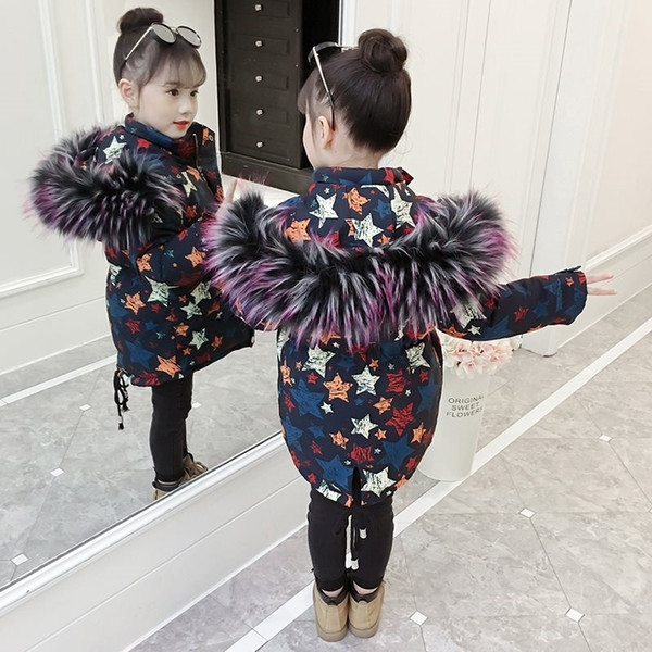 Girls Wadded Coat Garments New Mid-Long Thickened Children's Outerwear Winter Kids Down Cotton-Padded Clothes Hooded Jacket X482