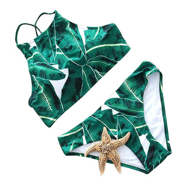 Sexy High Neck Bikini Swimwear Women Swimsuit Brazilian Bikini Set Green Print Halter Top Beach Wear Bathing Suits