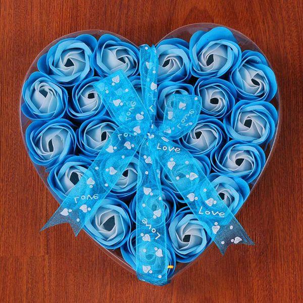 24 unids / caja corazón en forma de jabón flor de rosa caja de regalo creativo Día de la madre regalo de san valentín rosa flor de cabeza pantalla de flor