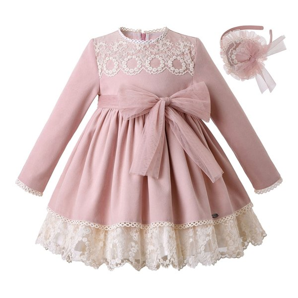 best choice professional sale quite nice 2019 Pettigirl New Arrival Boutique Lace Princess Girls Dresses With Bows  Girl Pink Dress+Headwear Kids Designer Clothes Fall Children Clothing From  ...