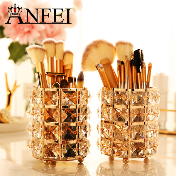 Anfei New Fashion Gold Crystal Makeup Brush Bucket Cosmetic Storage Box Recommended Atmospheric Beauty B2221 J190713