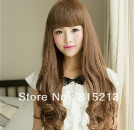 LL 292 danse cheveux Sexy Girls Fashion longue perruque de cheveux ondulés brun clair