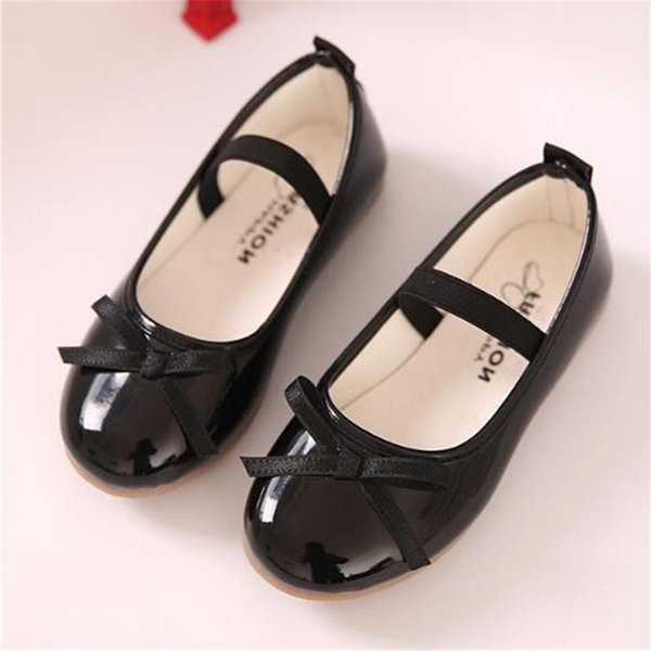 New Spring/Autumn Children Black Leather Shoes Girls Princess Pink Red Dance Shoes Flats Party Baby Toddler Kids 02B