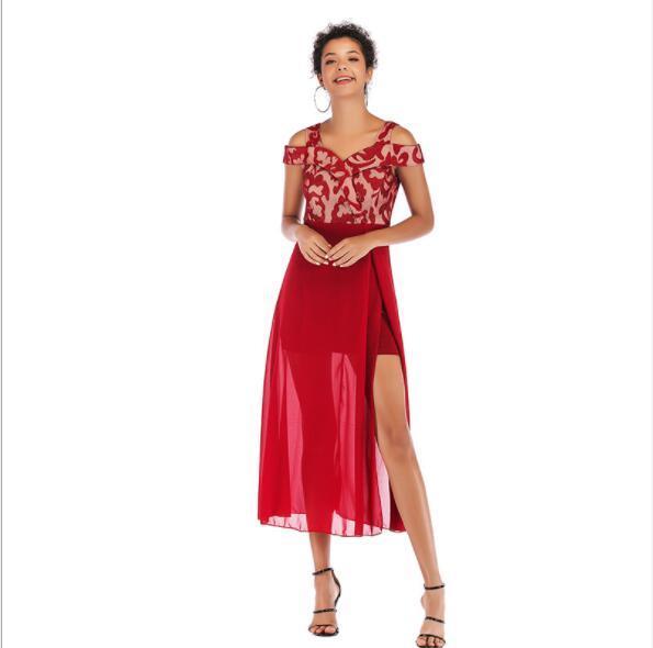 2019 sommerkleider für frauen urlaub designer kleider slash neck damen maxi print röcke fashion party kleider 3 farben s-l großhandel