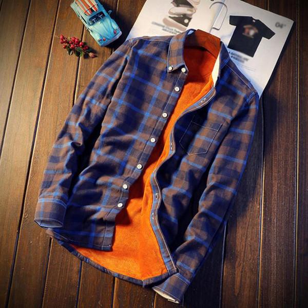 Shirt Homens Plaid camisas de flanela Mens Casual Quente Outono Inverno Primavera de lã grossa de algodão camisa de manga longa 5XL Camisa Masculina