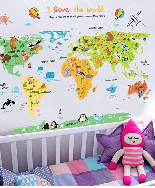Child wall decoration animal world map room adhesive cartoon stickers baby girl boy waterproof room decoration wholesale
