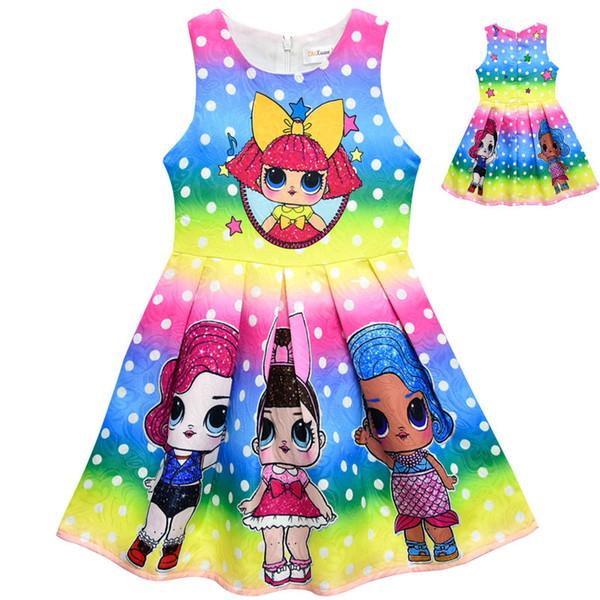 Niños 2019 Lol muñecas Vestidos de las niñas Falda Jacquard de los niños de dibujos animados sin mangas plisado Cosplay disfraces de Halloween Princesa vestido