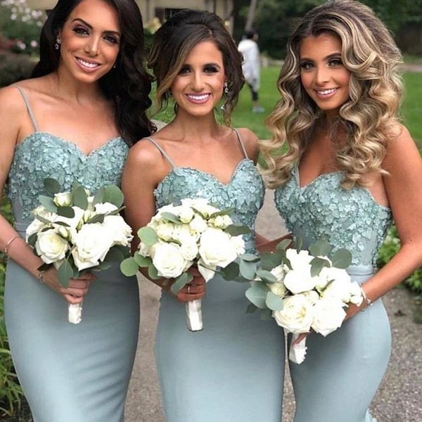 Mermaid Bridesmaid Dresses Spaghetti Straps With Hand made Flowers Sweep Train Wedding Guest Dresses Plus Size Maid Of Honor Gowns DB036