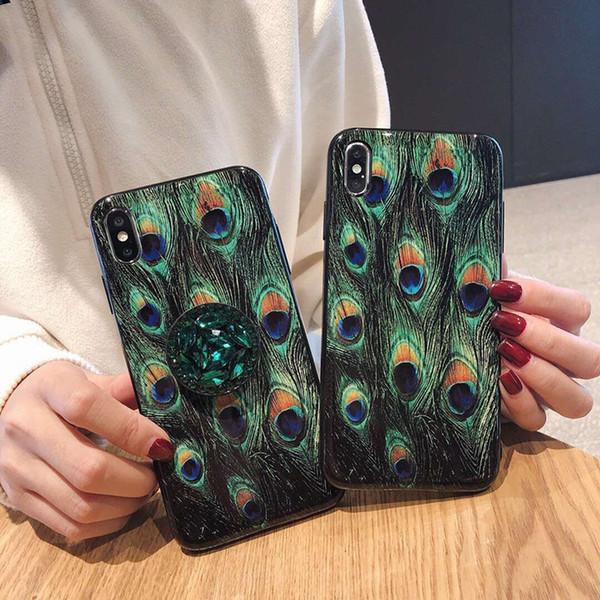 Estuche para teléfono con patrón de plumas de pavo real con soporte para Iphone X XR XS MAX Estuche de lujo para Iphone 6 7 8 Plus