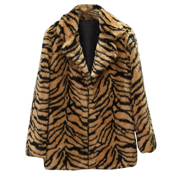 Pelz Top Leopardenmuster Frauen Casual Winter Warme Mäntel Top Damen Outwear weiblich Winter Herbst Trenchcoats Jumper Outwear # 717