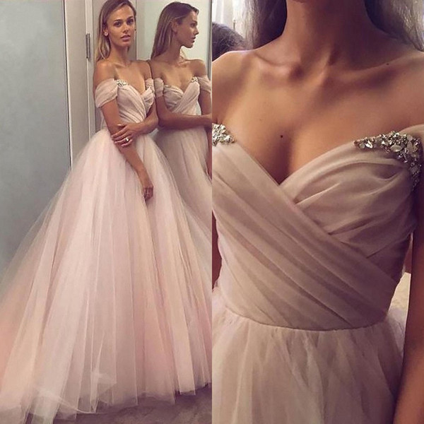 Chic Beaded Off The Shoulder Bridesmaid Dresses A Line Pleated Country Maid Of Honor Gowns Floor Length Tulle Wedding Guest Dress