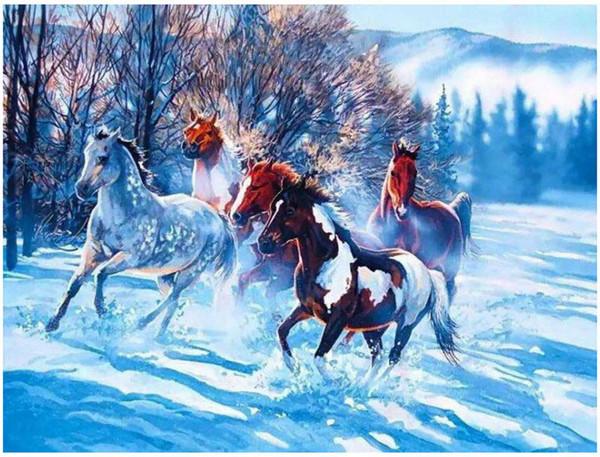 Pintura de bricolaje con números Kits Pintura pintada a mano para adultos Pintura al óleo: nieve caballo 16
