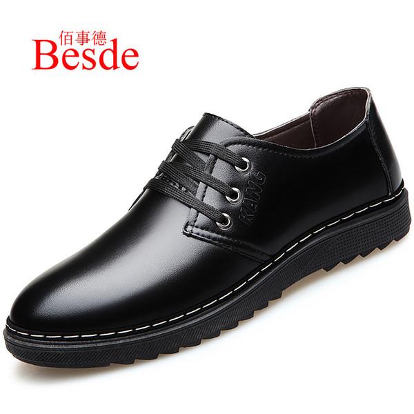 Chaussures de base hommes habillent des chaussures en cuir hiver bottines en peluche homme imperméable 2019 style vestimentaire mens robe