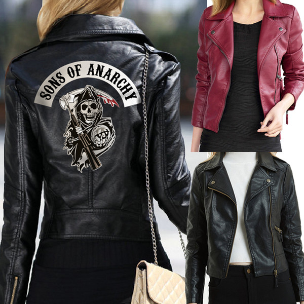 top popular Women Sons of Anarchy Leather Jackets Winter Slim Motorcycle Bomber nted Skull Black Wine Red Serpents Printed Black Wine Re 2020