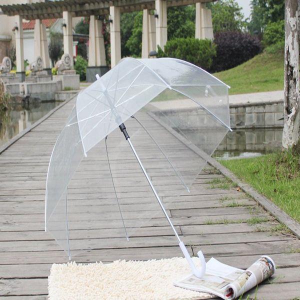 Горячие продажи женщин прозрачный Зонт Полуавтоматическая длинная ручка Грибной зонтик ясного видения Пузырь Глубокий купол Зонт оптом