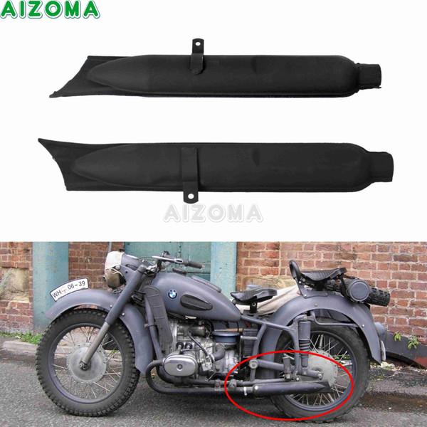 2pcs Motorbike Rear Fishtail Type Muffler Slip-On Exhaust Pipes Silencers Black for KS750 K750 M1 M72 R71 R12 Dnepr MT12