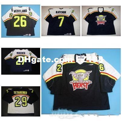 7 Peter Ratchuk Mens Womens Kids AHL Beast Of New Haven 27 Mikesch 100% вышивка на заказ Любое имя Любое Нет. Трикотажные изделия для хоккея на льду Goalit Cut Hot