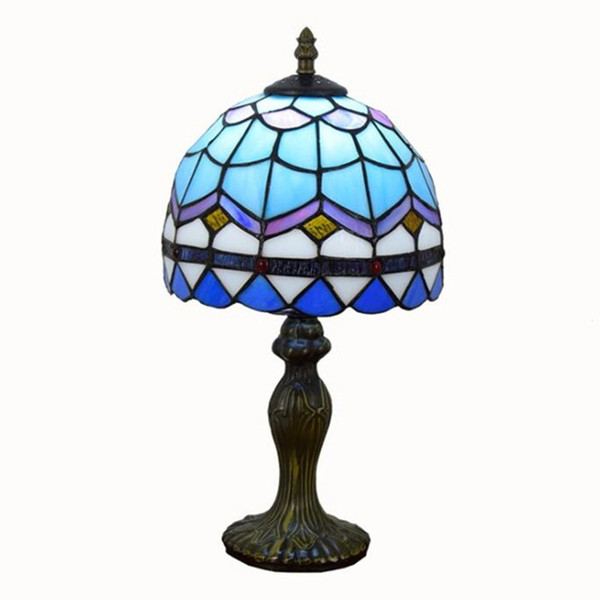 top popular European Tiffany stained glass table lamps Simple light blue living room bedroom bedside table lamp TF002 2021