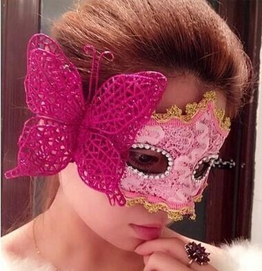 Cartoon Halloween Christmas Masquerade Princess Mask Venice Sticker Painted Party Eye Masks Male and Female Butterfly Mask